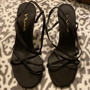 Nina Black Strappy Kitten Heels